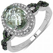1.78 Carat Genuine Green Amethyst and 0.32 ct.t.w Genuine Diamond Accents Sterling Silver Ring #77854v3