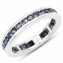 2.00 Carat Genuine Blue Sapphire .925 Sterling Silver Ring #77069v3