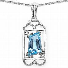 4.57 Carat Genuine Blue Topaz .925 Sterling Silver Fancy Pendant #76613v3