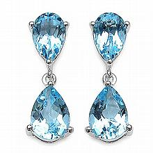 6.40 Carat Genuine Blue Topaz Sterling Silver Earrings #76926v3