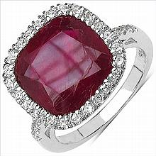 7.55 Carat Genuine Ruby & White Topaz .925 Streling Silver Ring #78189v3