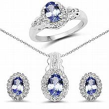 2.50 Carat Genuine Tanzanite & White Topaz .925 Sterling Silver Set #77062v3