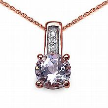 1.09 ct. t.w. Kunzite and White Zircon Pendant in 10K Rose Gold #77817v3