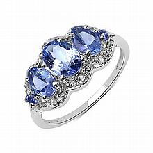 1.75 Carat Genuine Tanzanite .925 Sterling Silver Ring #78174v3