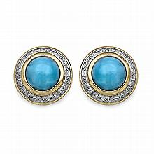 14K Yellow Gold Plated 3.00 Carat Genuine Larimar .925 Sterling Silver Earrings #78243v3