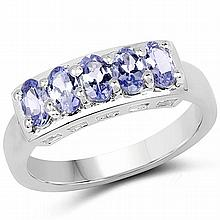 1.25 Carat Genuine Tanzanite .925 Sterling Silver Ring #77953v3