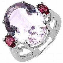 8.95 Carat Genuine Amethyst & Rhodolite .925 Streling Silver Ring #78508v3