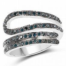 0.74 Carat Genuine Blue Diamond .925 Sterling Silver Ring #77948v3