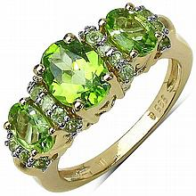 14K Yellow Gold Plated 2.46 Carat Genuine Peridot .925 Sterling Silver Ring #77385v3
