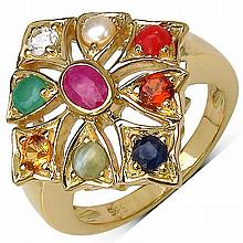 14K Yellow Gold Plated 0.35 Carat Ruby Ring with 0.95 ct. t.w. Multi-Gems in Sterling Silver #77125v3