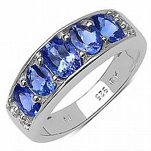 14K Yellow Gold Plated 1.42 Carat Genuine Tanzanite .925 Sterling Silver Ring #78551v3