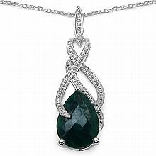 7.40 Carat Genuine Dyed Emerald Sterling Silver Pendant #77263v3