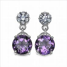5.01 Carat Genuine Amethyst .925 Sterling Silver Earrings #78208v3