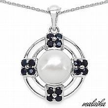 5.58 Carat Genuine Pearl & Blue Sapphire .925 Streling Silver Pendant #76842v3