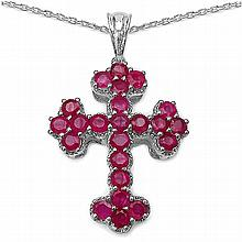 2.76 Carat Genuine Ruby .925 Sterling Silver Pendant #78355v3