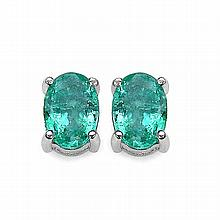 1.50 Carat Genuine Emerald .925 Sterling Silver Earrings #77217v3