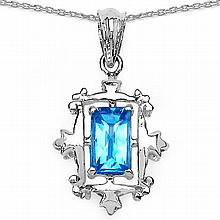 2.40 Carat Genuine Fancy Shape Swiss Blue Topaz Sterling Silver Pendant #76590v3
