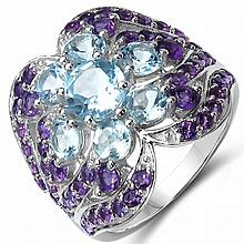 14K Yellow Gold Plated 4.58 Carat Genuine Amethyst & Blue Topaz .925 Sterling Silver Ring #78093v3