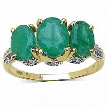 14K Yellow Gold Plated 2.88 Carat Genuine Emerald & White Topaz .925 Sterling Silver Ring #77344v3
