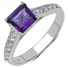 1.24 Carat Genuine Amethyst .925 Sterling Silver Ring #78555v3