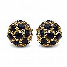 14K Yellow Gold Plated 2.10 Carat Genuine Sapphire .925 Streling Silver Earrings #78231v3
