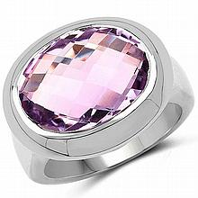 8.00 Carat Genuine Pink Amethyst .925 Sterling Silver Ring #77087v3