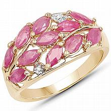 14K Yellow Gold Plated 1.56 Carat Genuine Ruby & White Topaz .925 Sterling Silver Ring #77469v3