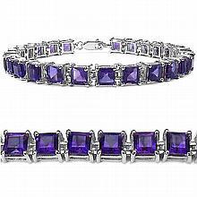 15.00 Carat Genuine Amethyst .925 Sterling Silver Bracelet #77165v3
