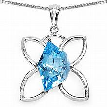 10.58 Carat Genuine Blue Topaz .925 Sterling Silver Fancy Pendant #76617v3