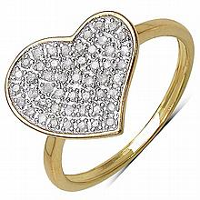 14K Yellow Gold Plated 0.26 Carat Genuine White Diamond .925 Streling Silver Ring #78429v3