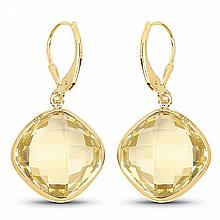 14K Yellow Gold Plated 21.40 Carat Genuine Lemon Quartz .925 Sterling Silver Earrings #77208v3