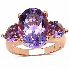 14K Rose Gold Plated 7.40 Carat Genuine Amethyst .925 Streling Silver Ring #77388v3