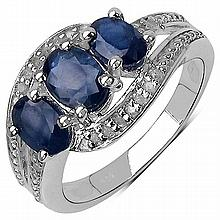 2.30 Carat Genuine Blue Sapphire and 0.10 ct.t.w Genuine Diamond Accents Sterling Silver Ring #78048v3