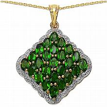 14K Yellow Gold Plated 5.50 Carat Genuine Chrome Diopside.925 Sterling Silver Pendant #78274v3