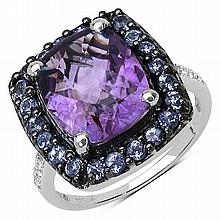 4.63 Carat Genuine Amethyst, Tanzanite & White Topaz .925 Sterling Silver Ring #77431v3