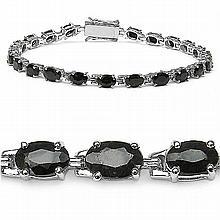 14.30 Carat Genuine Sapphire .925 Sterling Silver Bracelet #77588v3