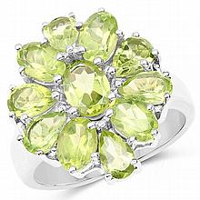 5.03 Carat Genuine Peridot .925 Sterling Silver Ring #77487v3