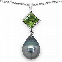 1.56 Carat Genuine Peridot & Tahitian Pearl Sterling Silver Pendant #76748v3