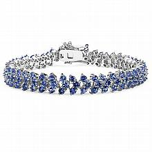 10.00 Carat Genuine Tanzanite Sterling Silver Bracelet #77604v3