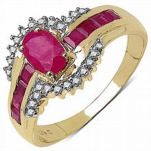 0.96 Carat Genuine Ruby and 0.14 ct.t.w Genuine Diamond Accents 10K Yellow Gold Ring #77668v3