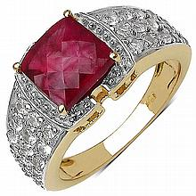 14K Yellow Gold Plated 4.08 Carat Genuine Ruby & White Topaz .925 Streling Silver Ring #78469v3