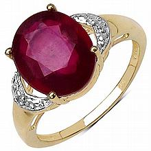 14K Yellow Gold Plated 4.01 Carat Genuine Ruby .925 Sterling Silver Ring #78558v3
