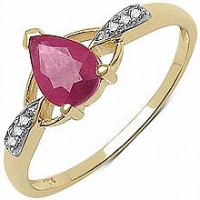 0.76 Carat Genuine Ruby and 0.04 ct.t.w Genuine Diamond Accents 10K Yellow Gold Ring #77674v3