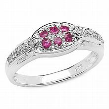 0.33 Carat Genuine Ruby .925 Sterling Silver Ring #78636v3