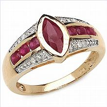 1.29 Carat Genuine Ruby 10K Yellow Gold Ring #78628v3