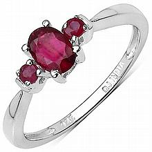 0.64 Carat Genuine Ruby Sterling Silver Ring #76744v3