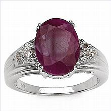 7.80 Carat Genuine Ruby .925 Sterling Silver Ring #78647v3