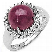 6.81 Carat Genuine Ruby & White Topaz .925 Streling Silver Ring #78457v3
