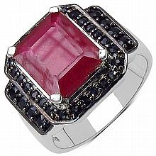 7.40 ct. t.w. Glass Filled Ruby and Black Spinel Ring in Sterling Silver #78097v3