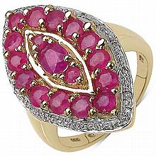 14K Gold Plated 2.30 ct. t.w. Glass Filled Ruby and White Topaz Ring in Sterling Silver #77914v3